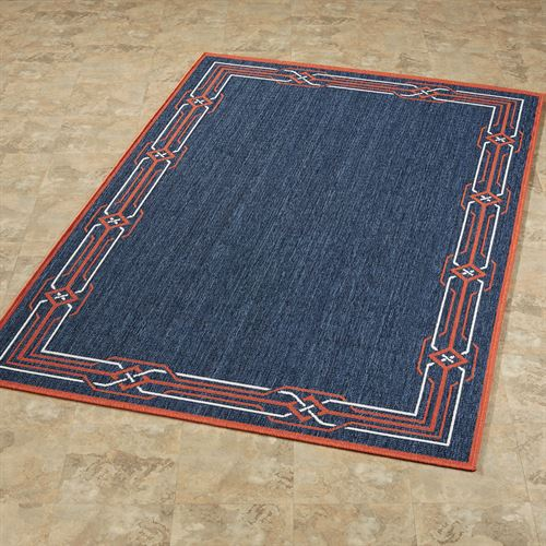 Nautical Border Rectangle Rug Navy