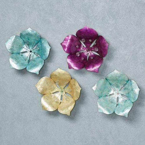 Budding Flower Wall Art Multi Jewel Set of Four
