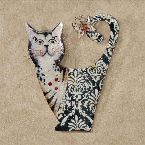 Damask Cat Wall Art Black/White