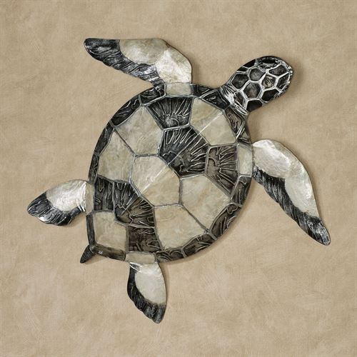 Sea Turtle Mother Of Pearl And Metal Indoor Outdoor Wall Art