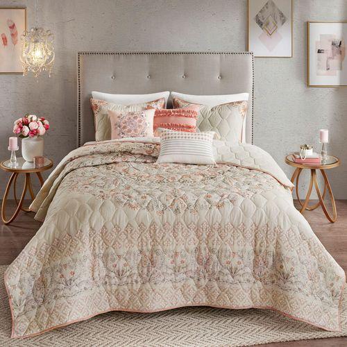Floral Elise Quilt Bed Set Coral Pink