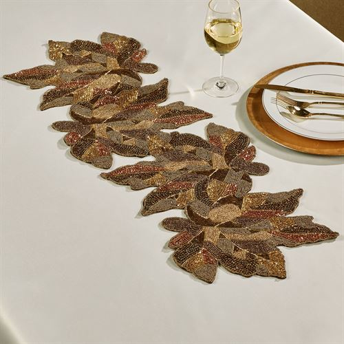 Sedona Beaded Leaf Table Runner Multi Metallic 13 x 35
