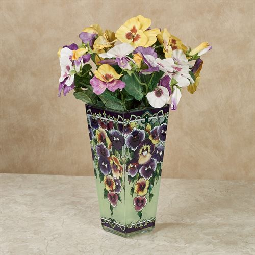 Purple Pansies Table Vase