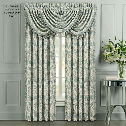 Versailles Wide Tailored Curtain Pair Aqua 100 x 84