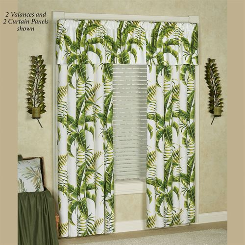 Lush Fronds Tailored Curtain Panel Off White 50 x 84