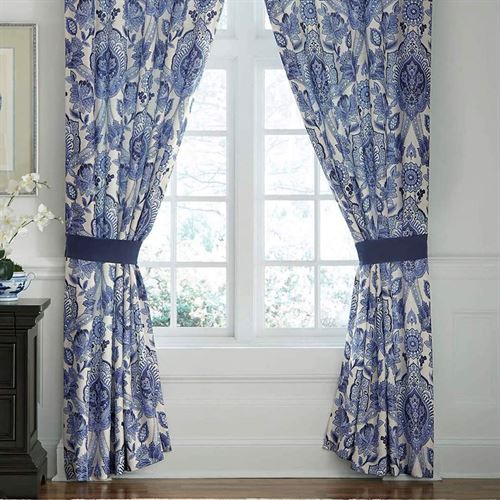 Leland Tailored Curtain Pair Blue