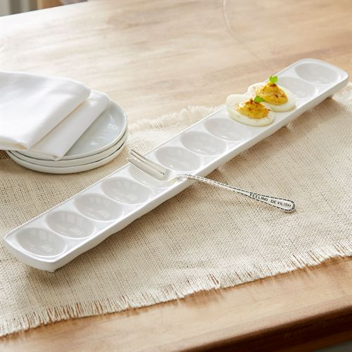 Circa Deviled Egg Tray and Fork White 2 Piece Set