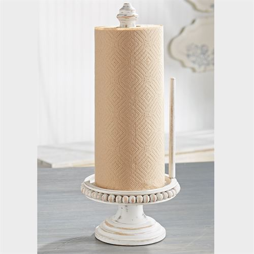 Beaded Paper Towel Holder Weathered White