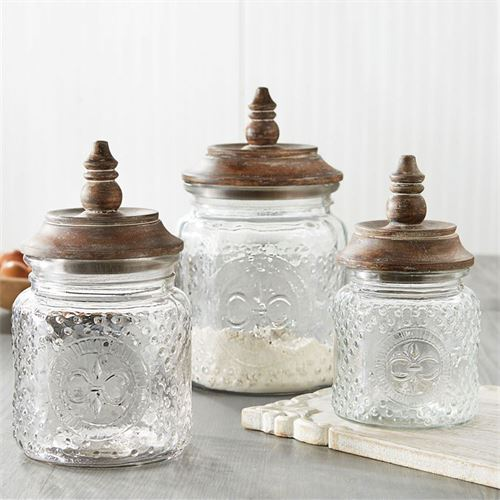 Fleur de Lis Glass Kitchen Canisters Multi Warm Set of Three