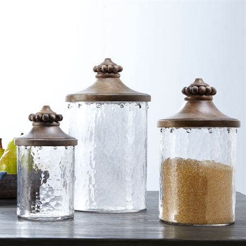 Beaded Glass Kitchen Canisters Brown Set of Three