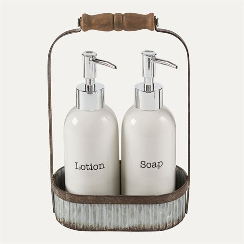 Galvanized Caddy with Lotion and Soap Pumps Silver Three Piece Set