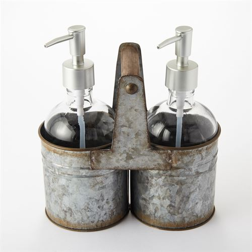 Rustic Caddy and Soap Pumps Silver Three Piece Set