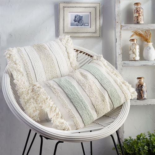 Chenille Fringe Square Pillow Multi Warm 20 Square