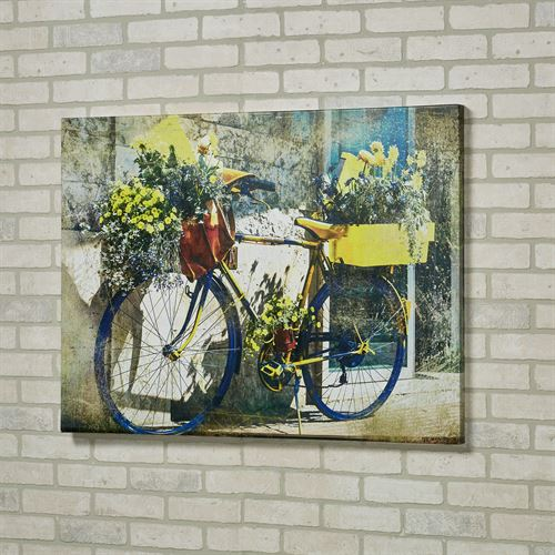 Blue and Yellow Bike Canvas Wall Art