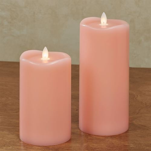 Wave Top Flameless LED Pillar Candle Coral