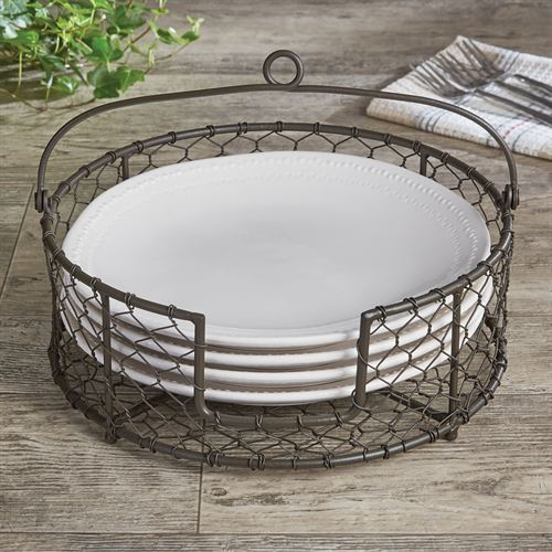 Chicken Wire Metal Tabletop Plate Holder