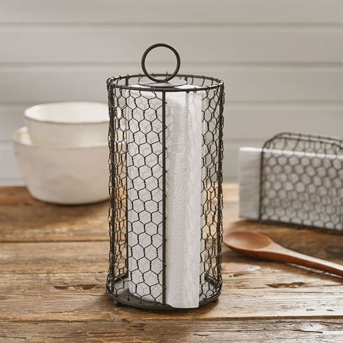 Chicken Wire Paper Towel Holder Gun Metal