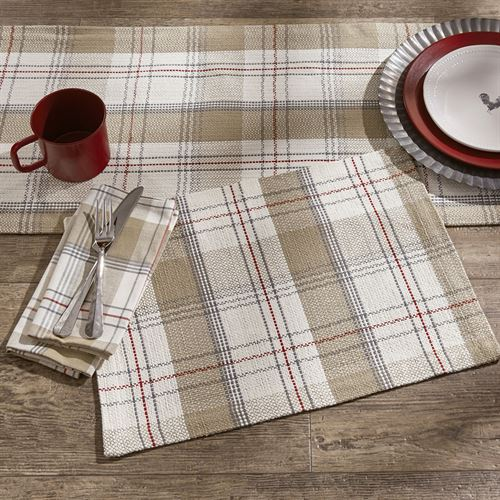 Landen Farmhouse Plaid Table Runner Ivory/Taupe 15 x 72