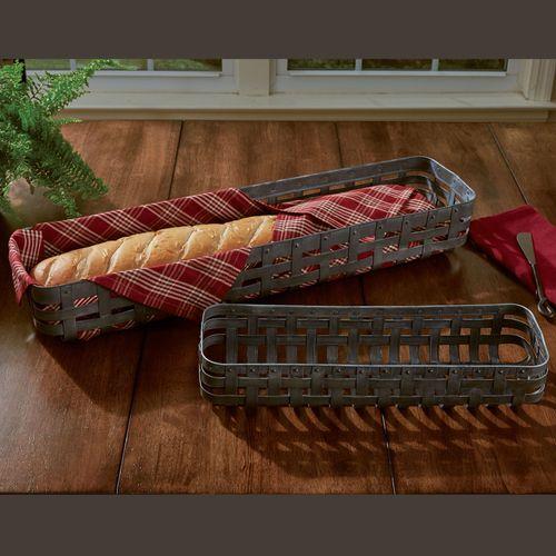 Basketweave Long Baskets Gray Set of Two