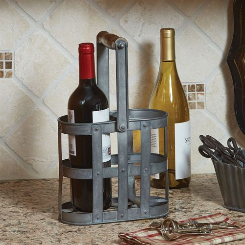 Basketweave Wine Carrier Gray