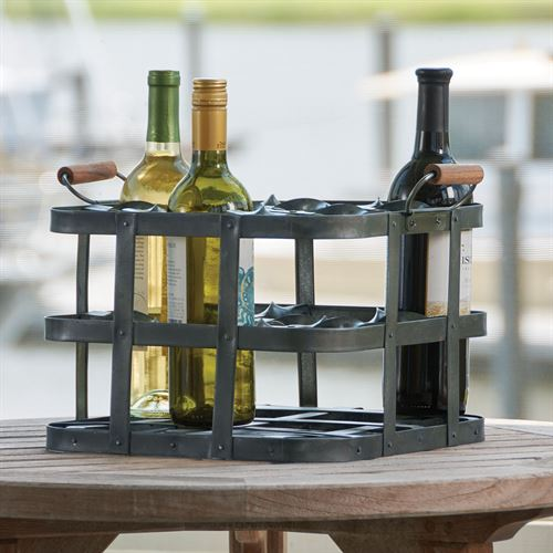 Basketweave Wine Rack Crate Gray