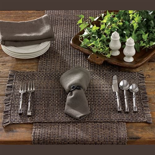 Tweed Basics Table Runner Charcoal 13 x 54