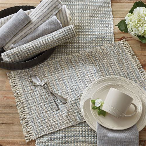 Tweed Basics Table Runner Ivory/Blue 13 x 54