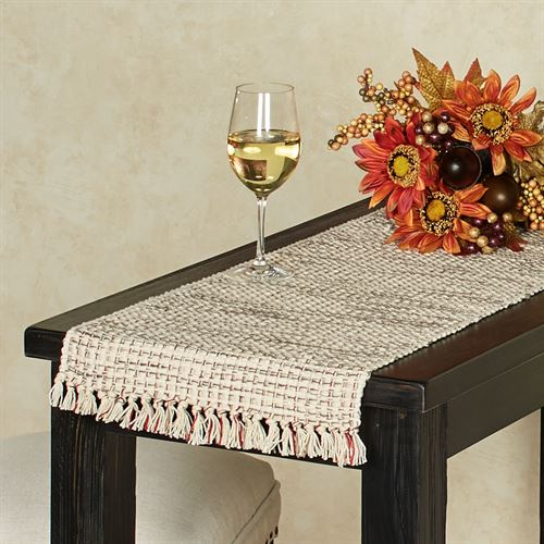 Tweed Basics Table Runner Ivory/Red 13 x 54