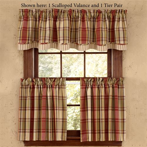 Heartfelt Plaid Tailored Tier Pair Russet 72 x 36