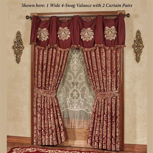 Palatial Wide Swag Valance Ruby 74 x 20