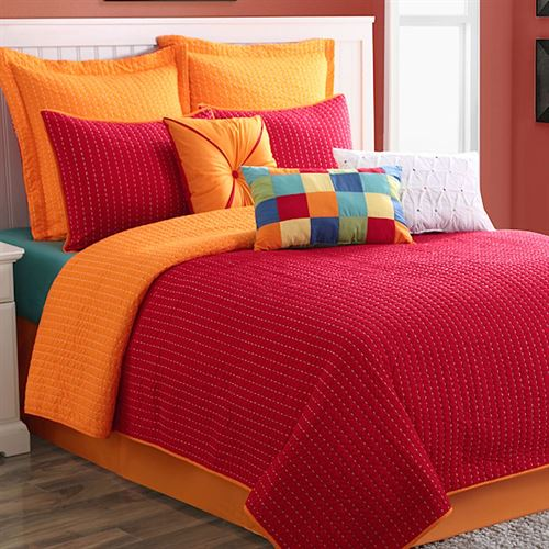 Dash Red Orange Coverlet Set