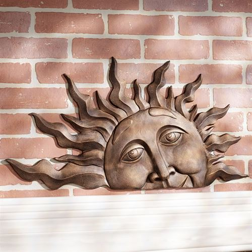 Half Sun Face Wall Plaque Art Gold