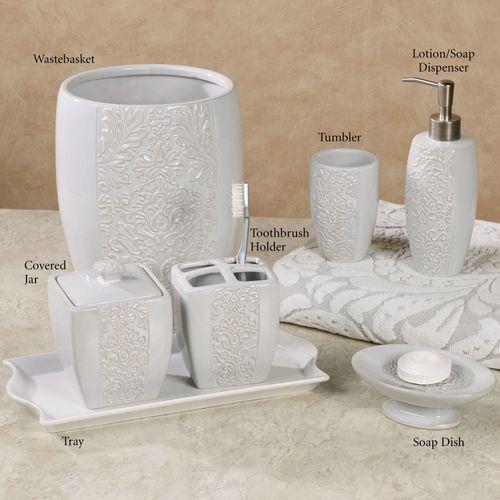 Heirloom Ceramic Bath Accessories Lotion Soap Dispenser Gray