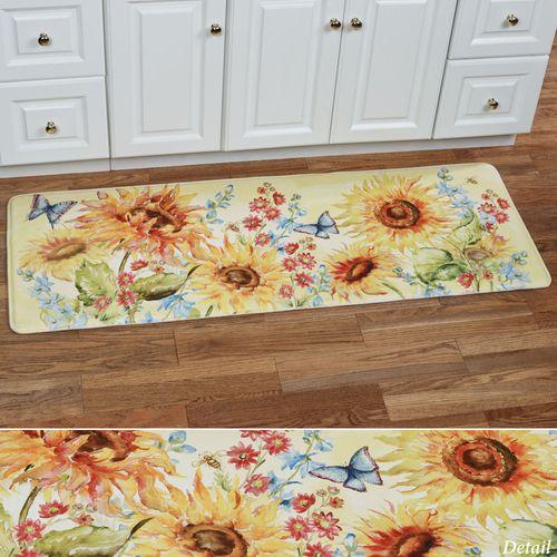 Watercolor Sunflowers Cushioned Runner Mat Multi Bright 55 x 20