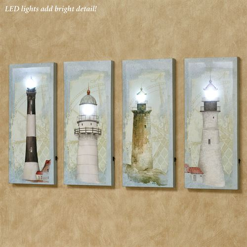 Coastal Lighthouse LED Canvas Wall Art Multi Cool Set of Four