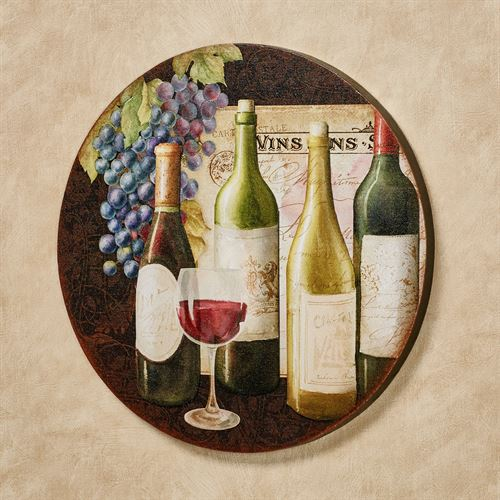 Cheers Wine Themed Round Canvas Wall Art