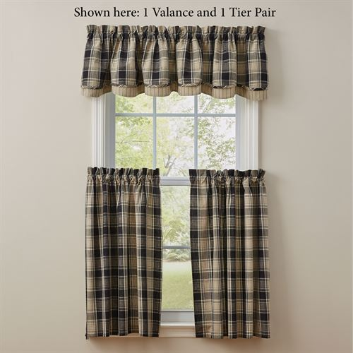 Soapstone Plaid Tailored Tier Pair Black 72 x 36