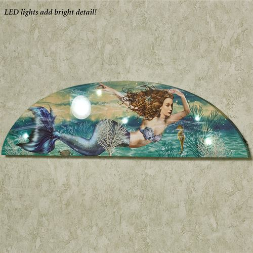Mermaid LED Arched Canvas Wall Art Multi Cool