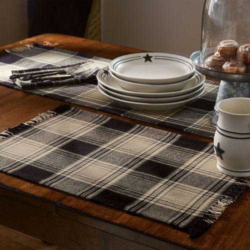 Soapstone Plaid Table Runner Black 13 x 54
