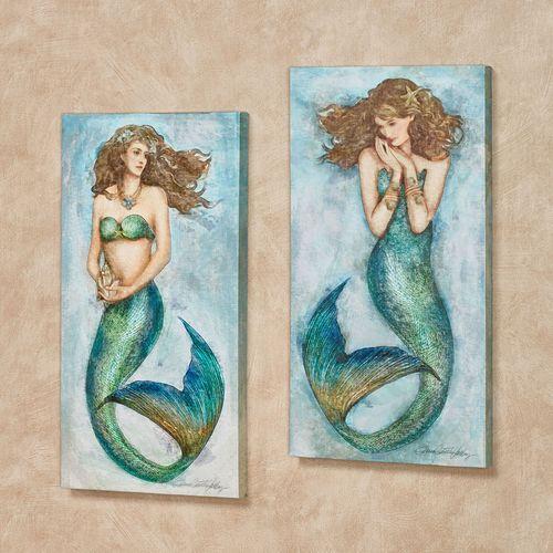 Superb Magic Mermaid Canvas Wall Art Multi Bright Set Of Two