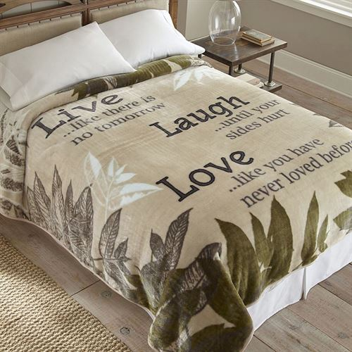 Live Laugh Love Blanket Light Almond Full / Queen