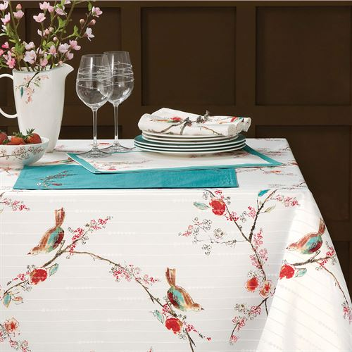 Chirp Oblong Tablecloth Ivory