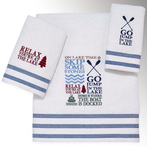 Lake Words Bath Towel Set Ivory Bath Hand Fingertip