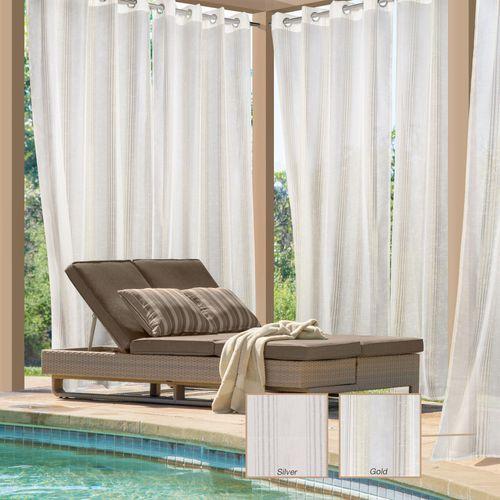Arya Metallic Pinstripe Sheer Indoor Outdoor Grommet Curtain Panel
