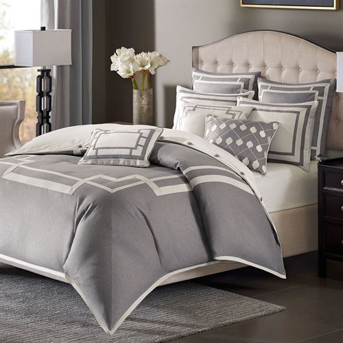 Odette Comforter Bed Set Dark Gray