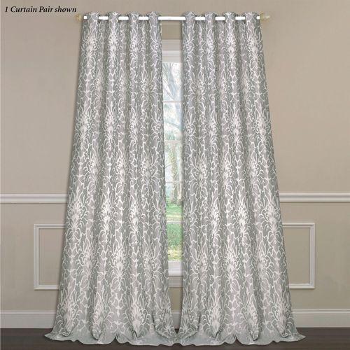Florence Wide Grommet Curtain Pair Dark Gray 104 x 84