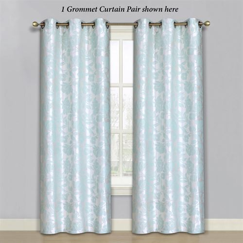 Duchess Grommet Curtain Pair Aqua Mist