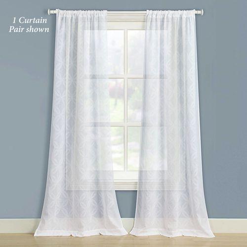 Chancery Semi Sheer Curtain Pair White 80 x 84
