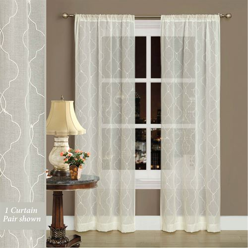 Audrey Semi Sheer Curtain Pair Ivory