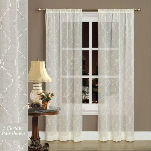 Audrey Semi Sheer Curtain Pair Ivory